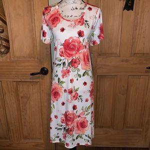 NWT M LLR Pink Roses Printed White Jessie Dress